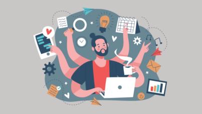 Vector illustration - productivity multitasking male working